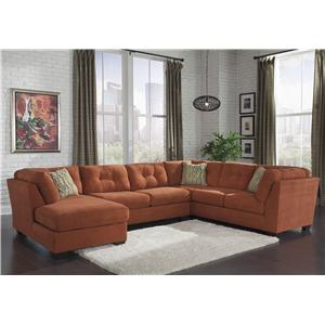 Benchcraft Delta City - Rust 3-Piece Sectional w/ Sleeper & Left Chaise