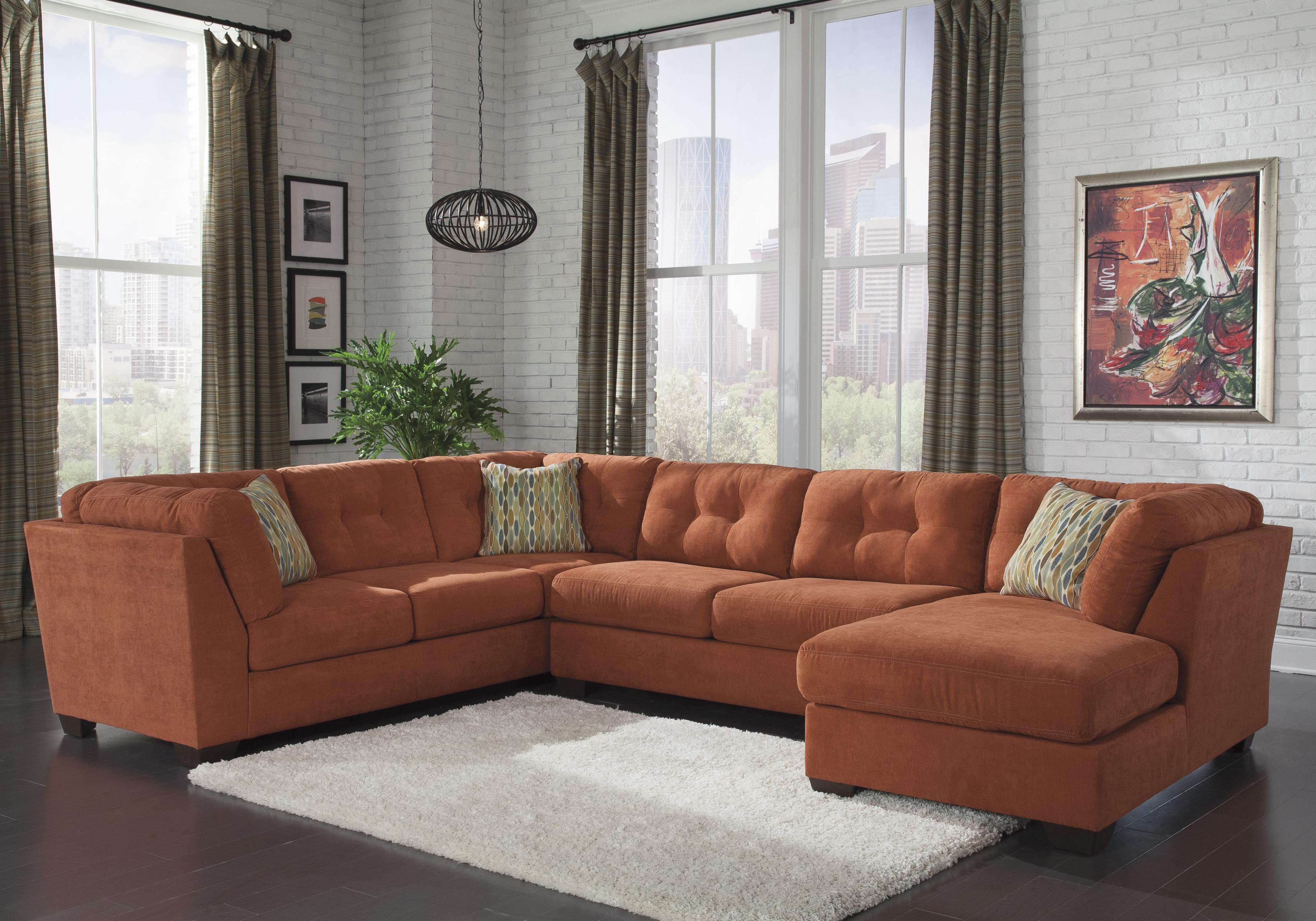 Benchcraft Delta City - Rust 3-Piece Sectional w/ Sleeper & Right Chaise - Item Number: 1970138+71+17