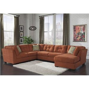 Benchcraft Delta City - Rust 3-Piece Sectional w/ Sleeper & Right Chaise