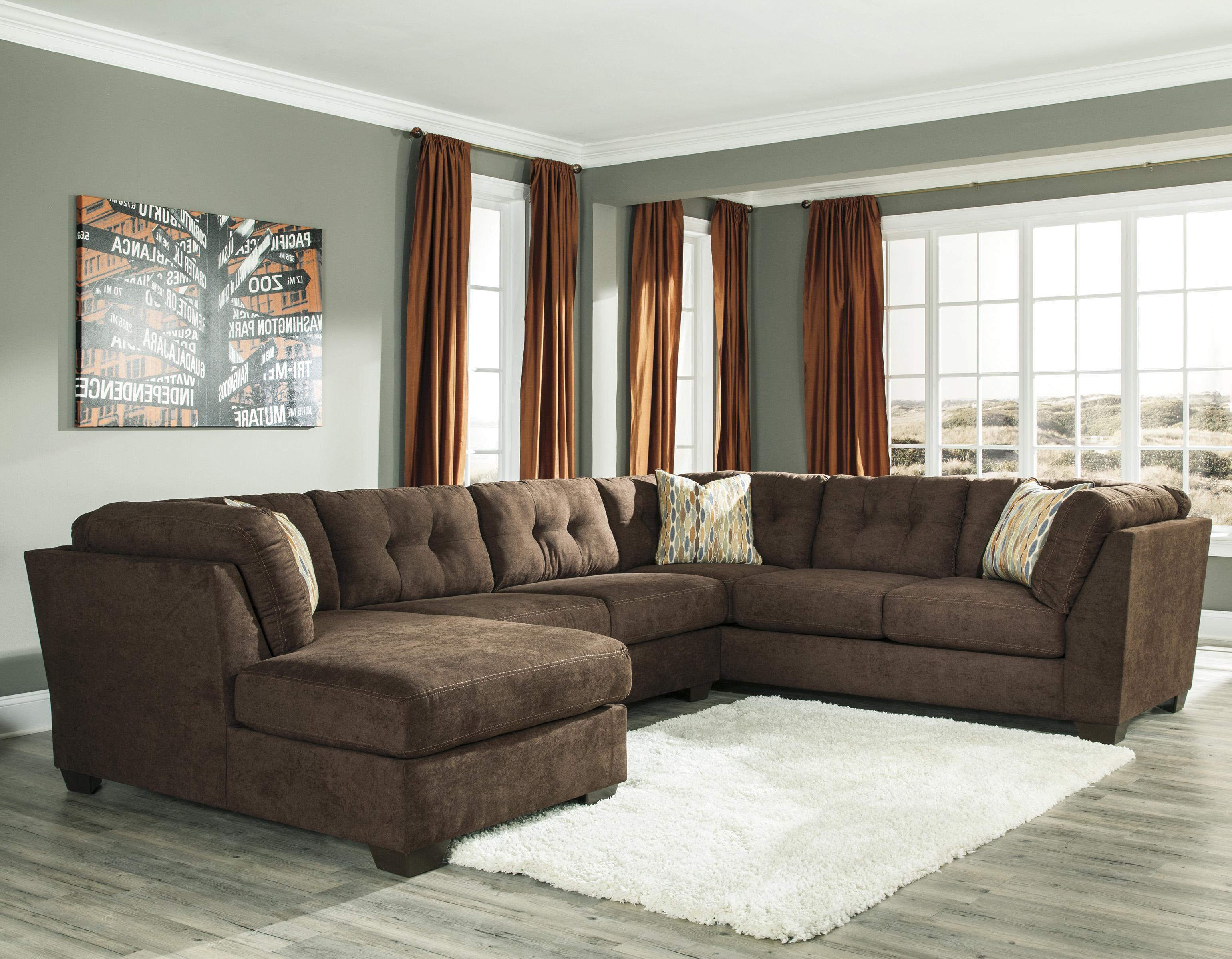 Ashley/Benchcraft Delta City - Chocolate 3-Piece Sectional w/ Sleeper & Left Chaise - Item Number: 1970216+71+38