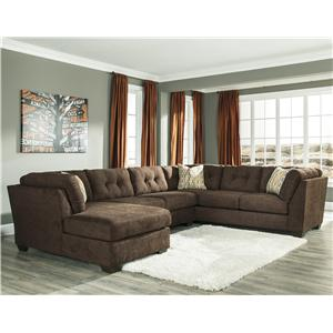 Benchcraft Delta City - Chocolate 3-Piece Sectional w/ Sleeper & Left Chaise