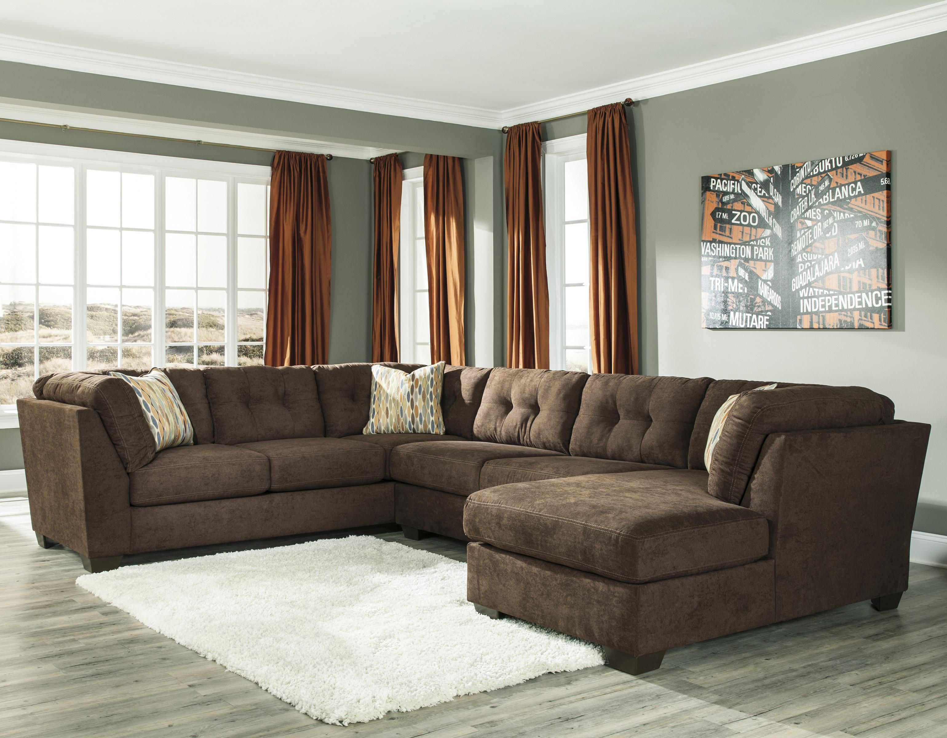 Ashley/Benchcraft Delta City - Chocolate 3-Piece Sectional w/ Sleeper & Right Chaise - Item Number: 1970238+71+17
