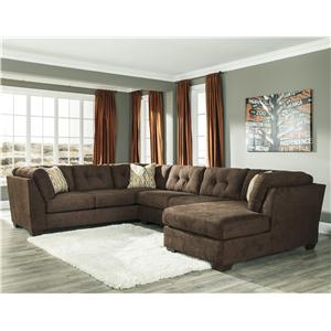 Benchcraft Delta City - Chocolate 3-Piece Sectional w/ Sleeper & Right Chaise