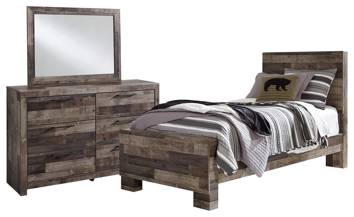 Derekson Twin Bed, Dresser, and Mirror by Benchcraft at Johnny Janosik
