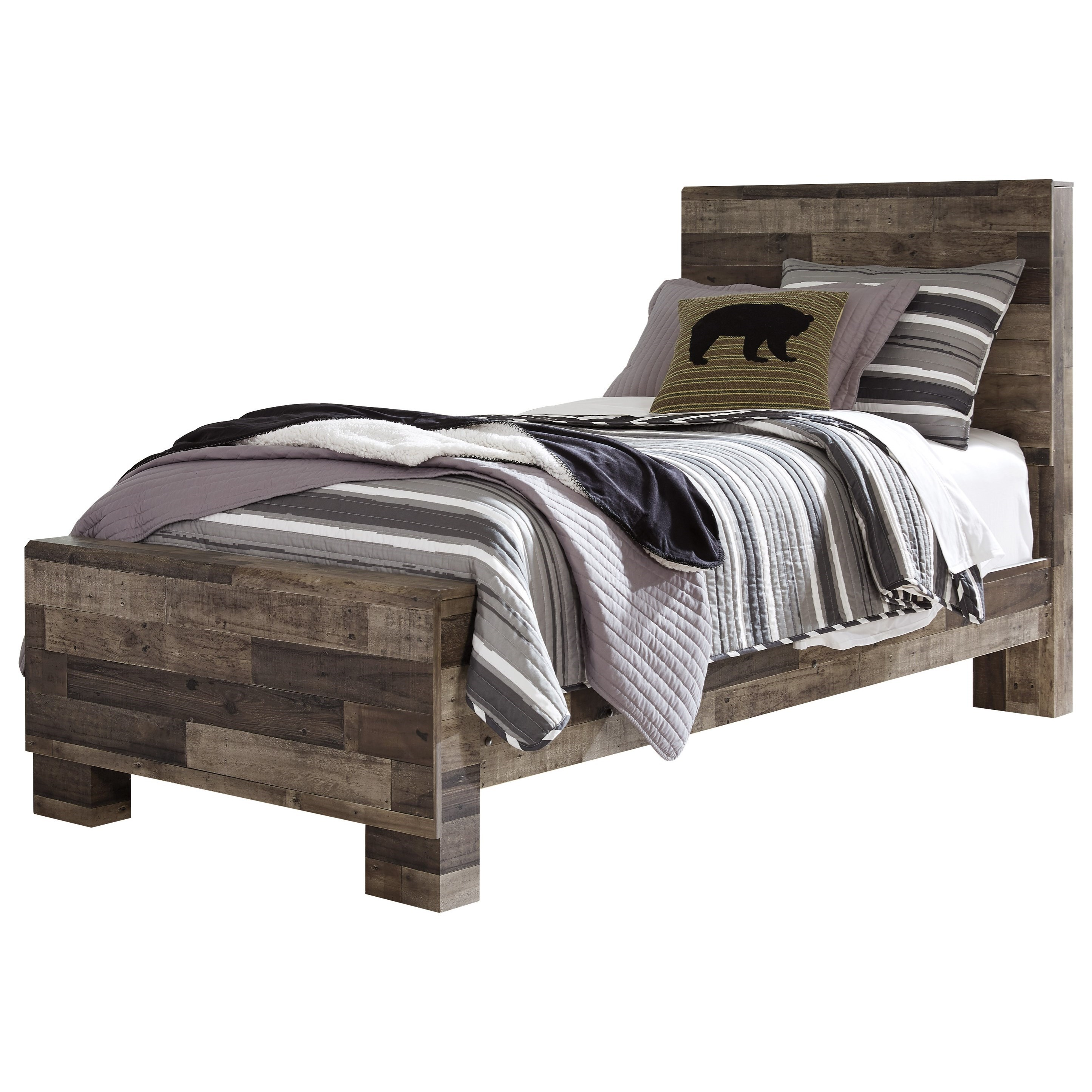 Benchcraft Derekson Rustic Modern Twin Panel Bed Lindy S Furniture Company Panel Beds
