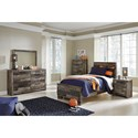 Benchcraft Derekson Rustic Modern Twin Panel Bed