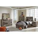 Benchcraft Derekson Rustic Modern Twin Storage Bed with 5 Drawers