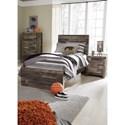 Benchcraft Derekson Rustic Modern Twin Storage Bed with Footboard Drawer