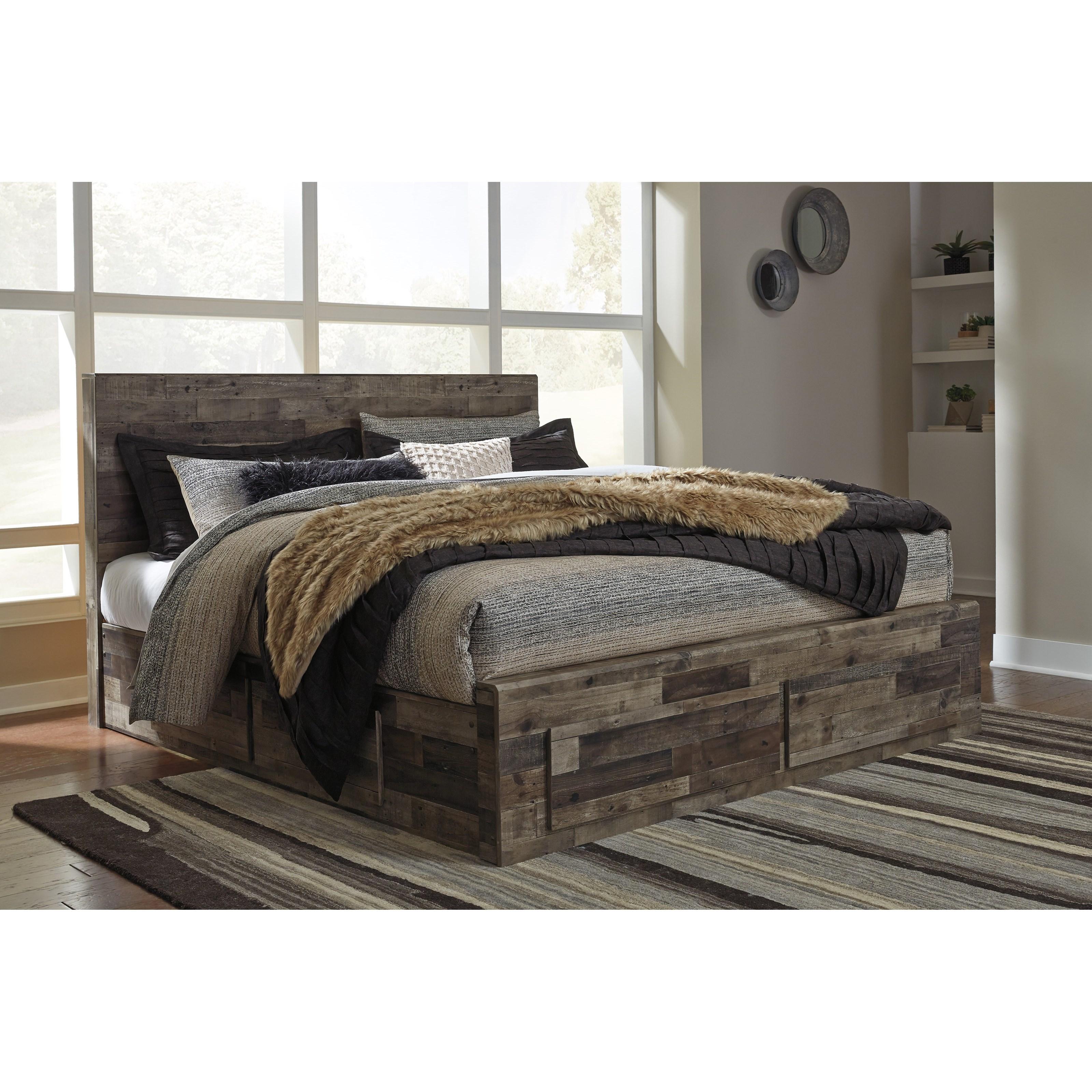 Benchcraft Derekson Rustic Modern King Storage Bed With 6