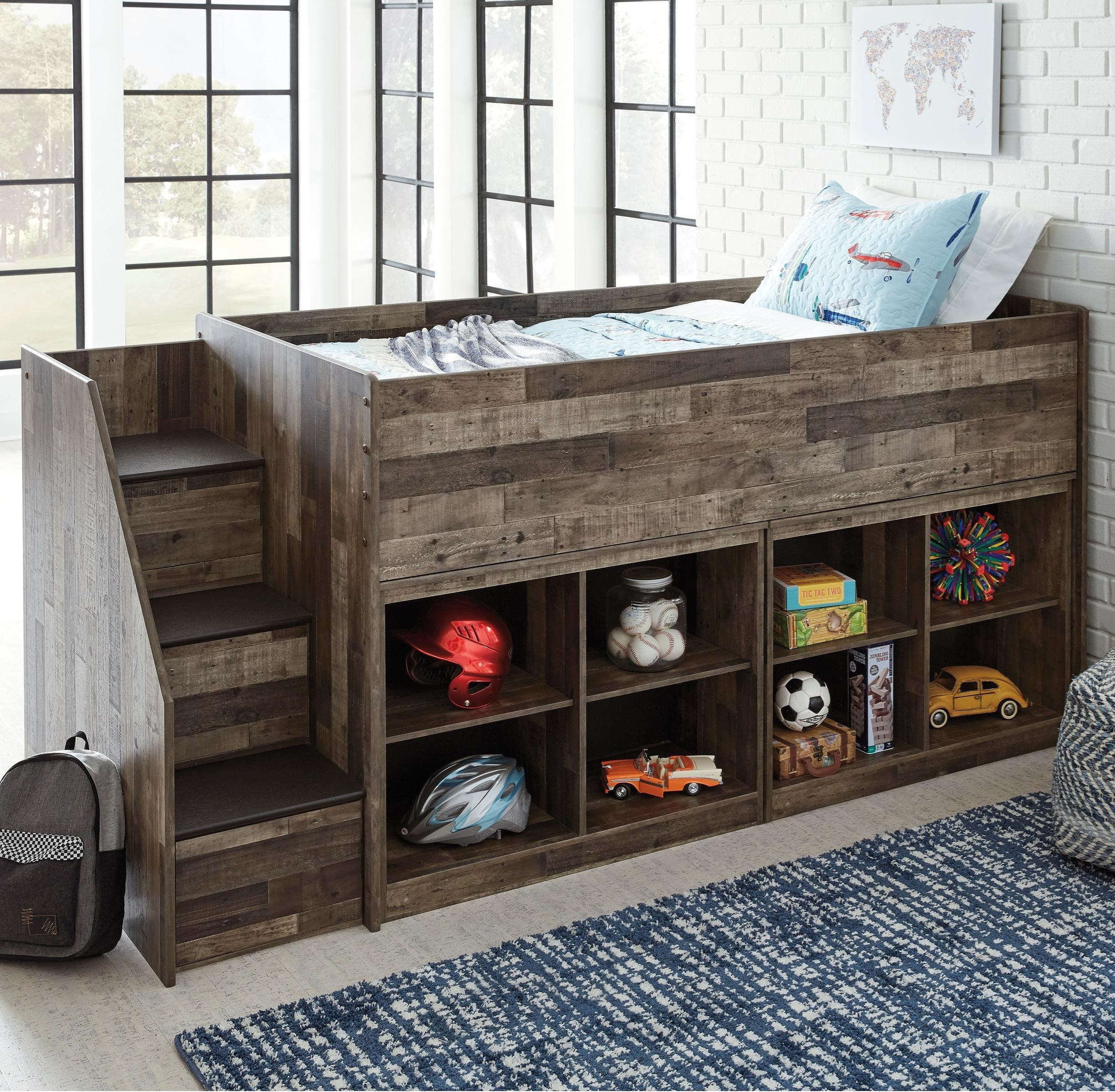 Low Loft Bed with Bookcase Storage