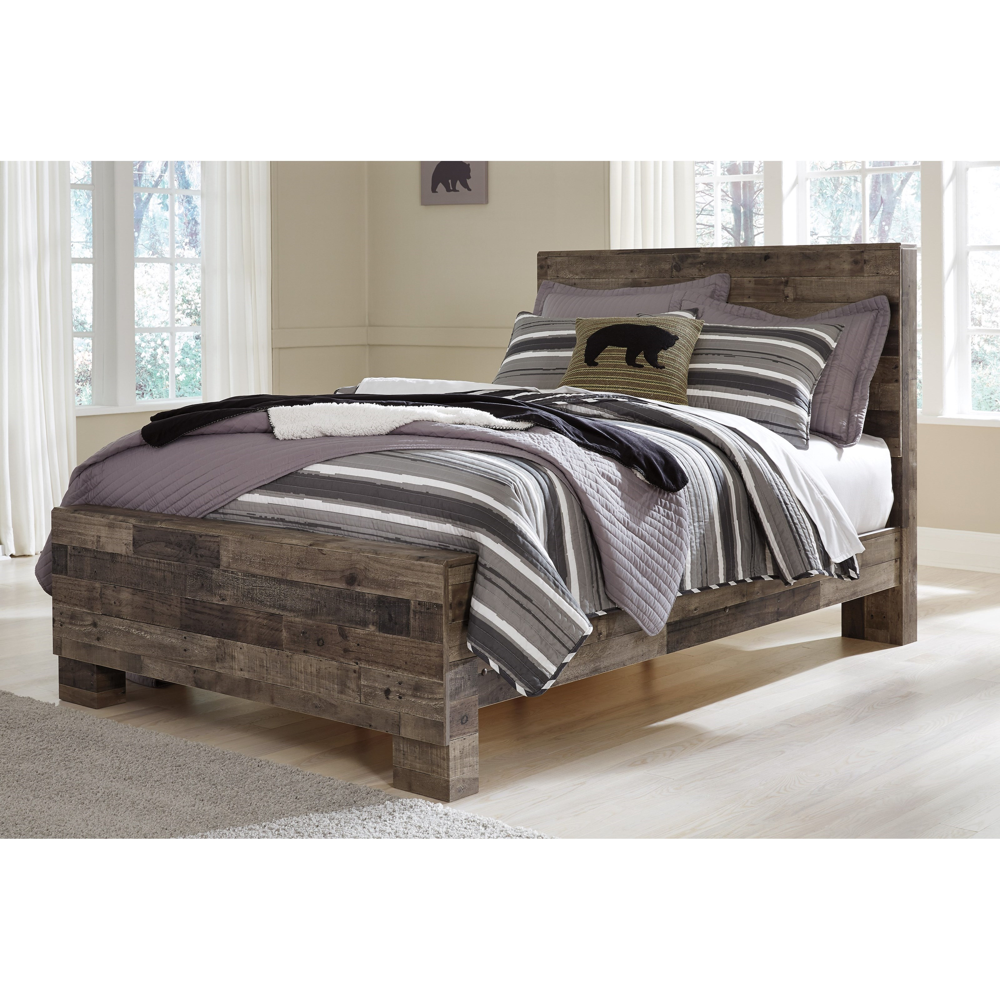 ashley derekson rustic modern full panel bed | godby home