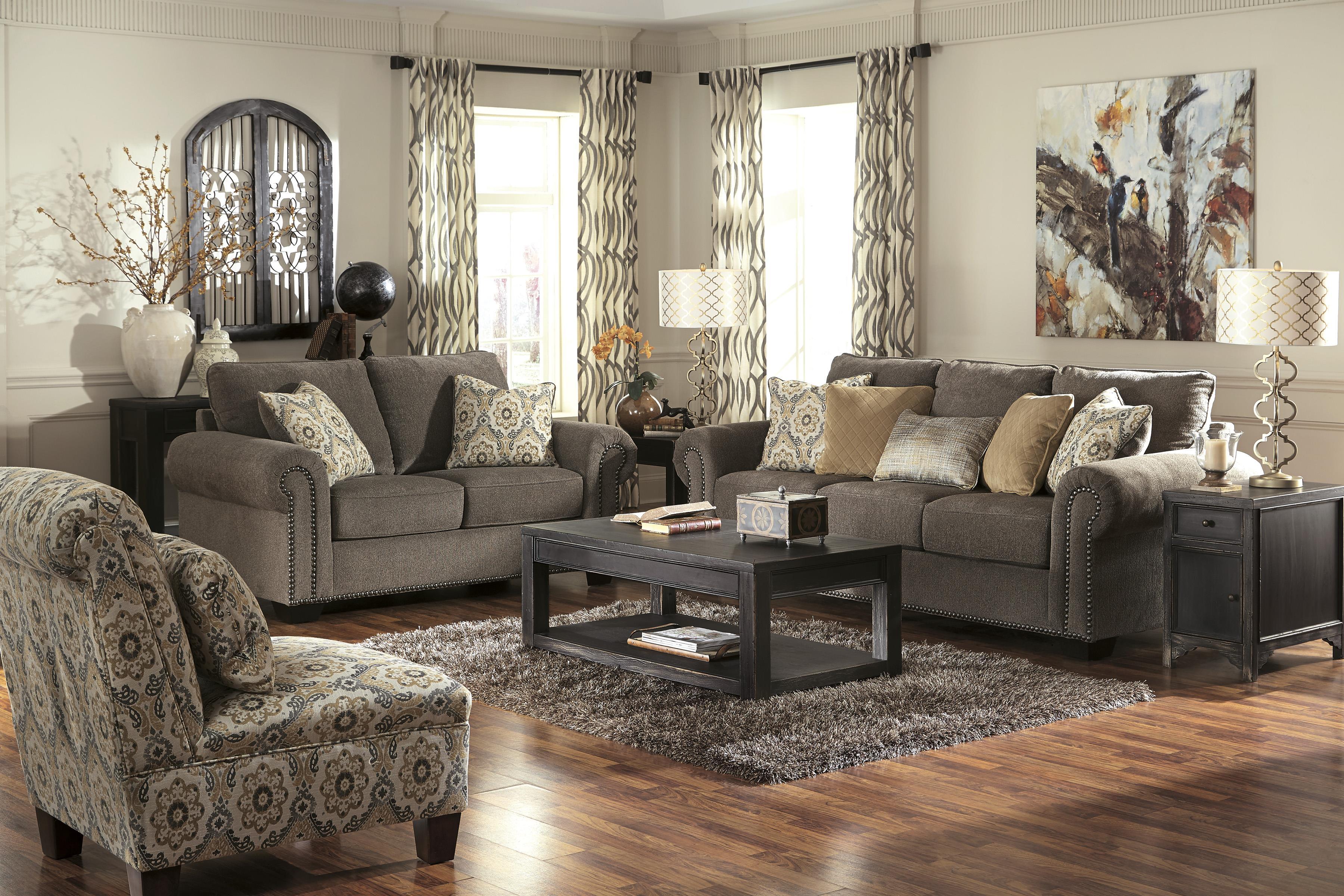 benchcraft emelen stationary living room group dunk bright