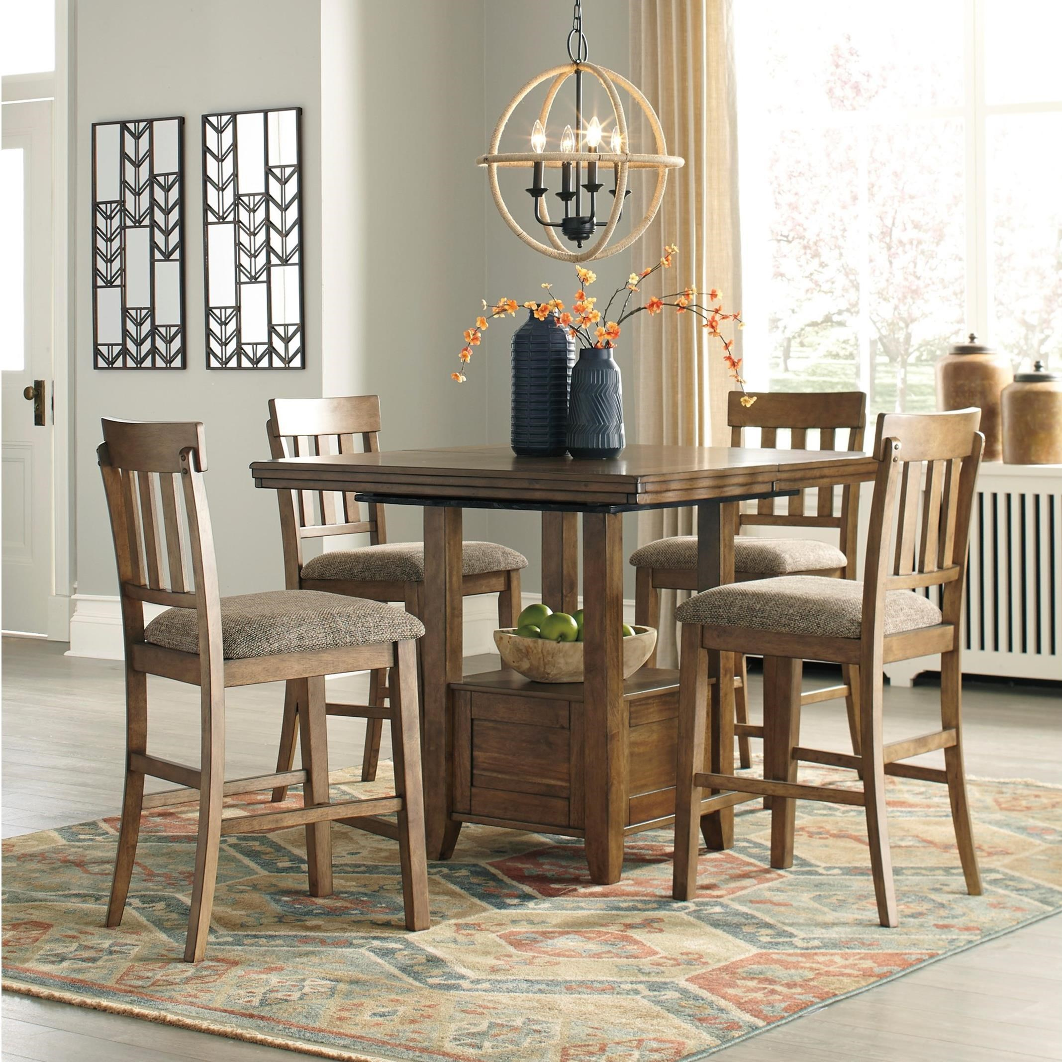 Pub Style Dining Room Set: Benchcraft Flaybern 5 Piece Pub Dining Set