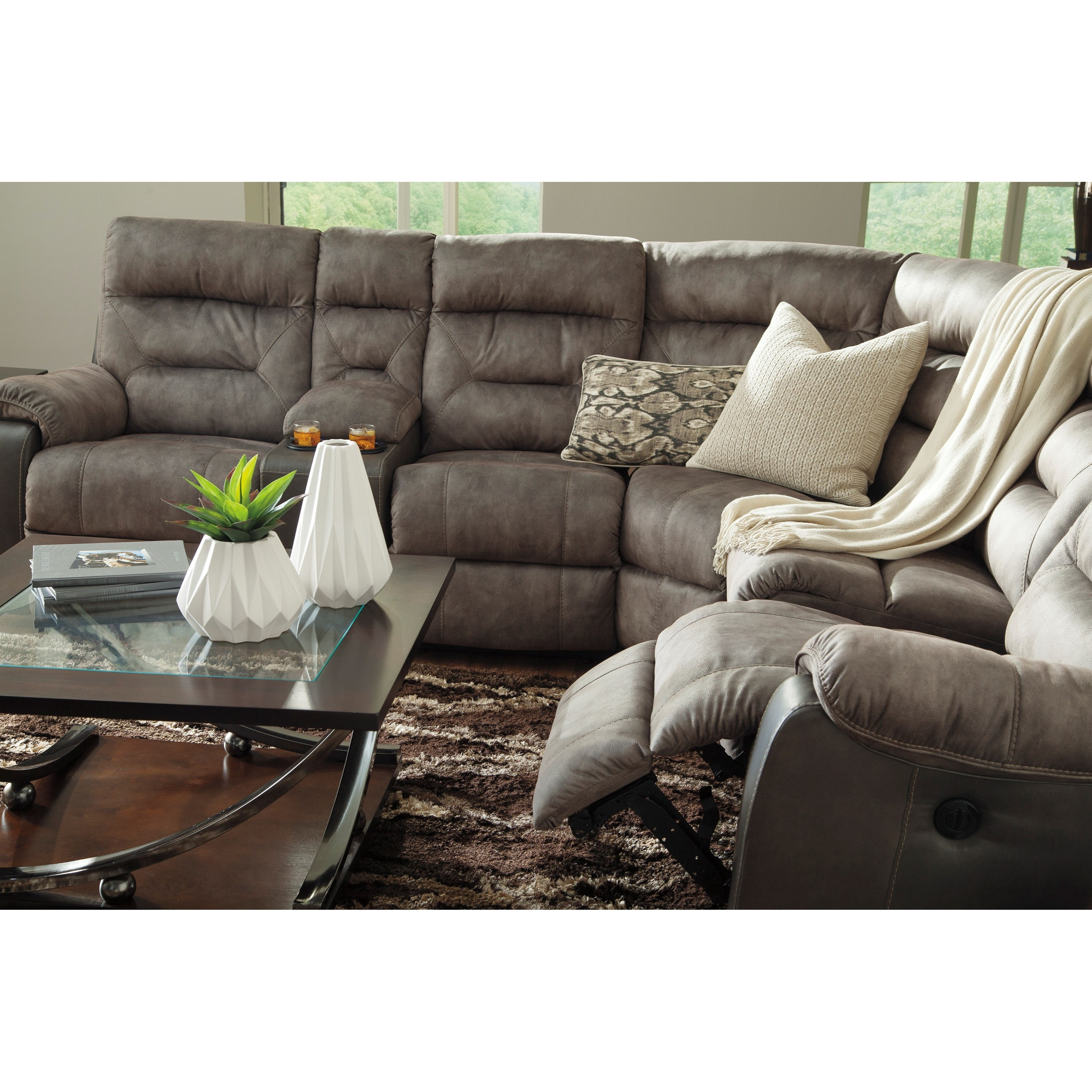 Benchcraft Hacklesbury Two Tone Reclining Sectional With