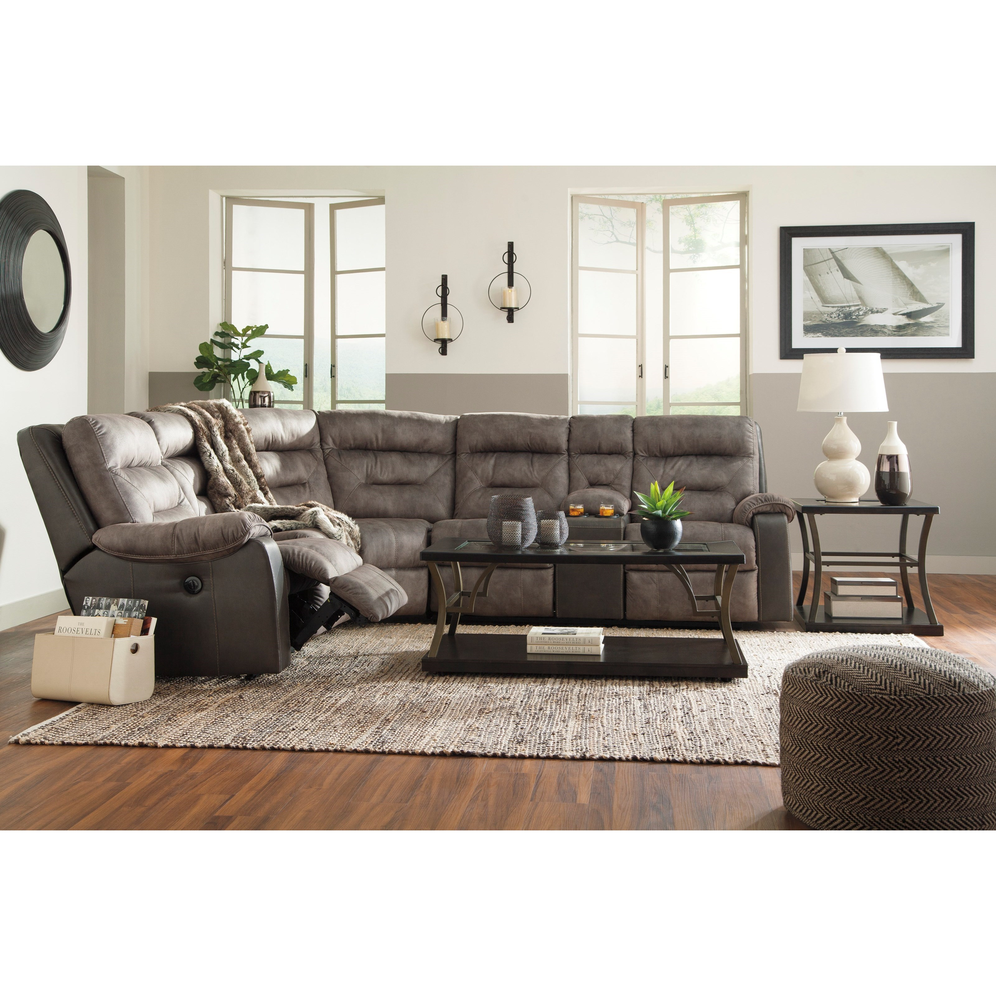 Two Tone Sofa Living Room Furniture: Benchcraft Hacklesbury Two-Tone Reclining Sectional With