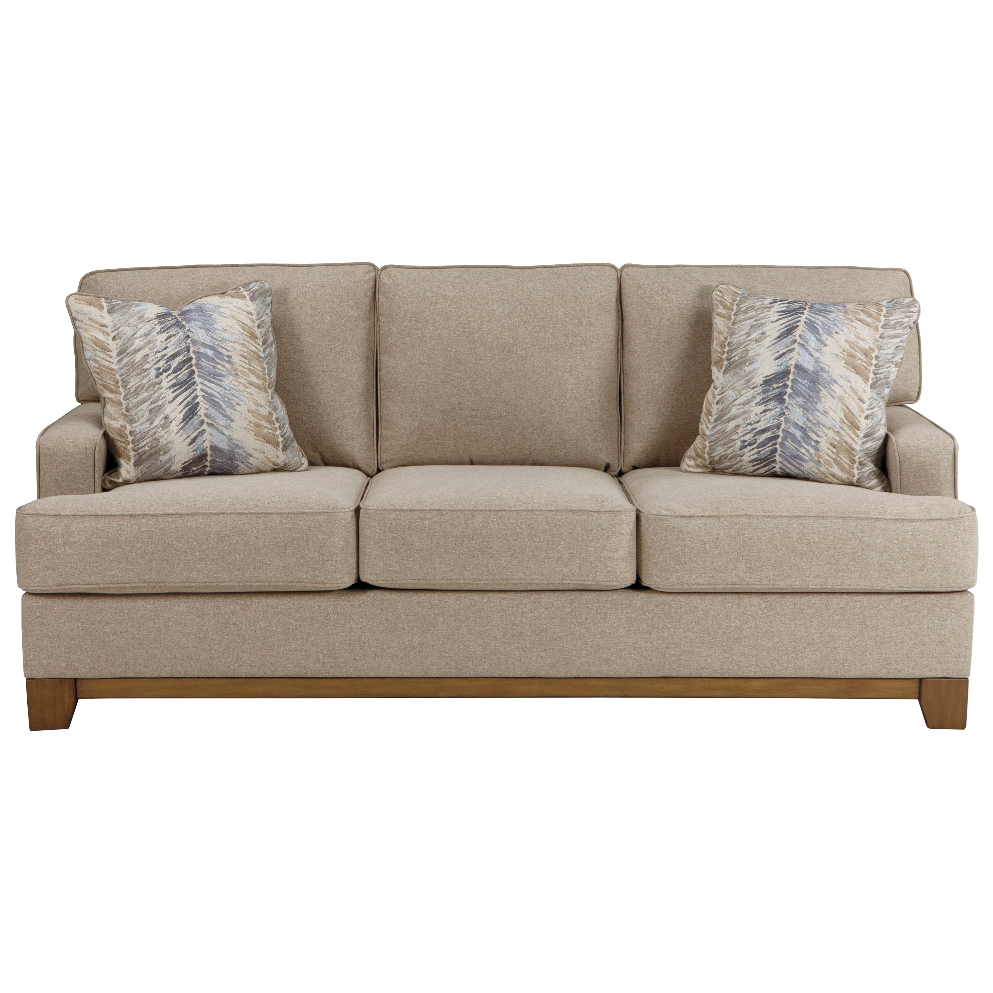 Benchcraft Hillsway Contemporary Sofa With Exposed Wood Front Rail Value City Furniture Sofas