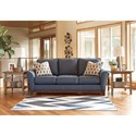 Ashley Janley Contemporary Sofa with Front Wood Rail