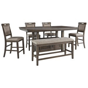 6-Piece Counter Height Dining Set with Bench