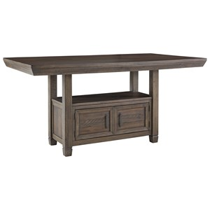Rectangular Dining Room Counter Table with Built-In Storage