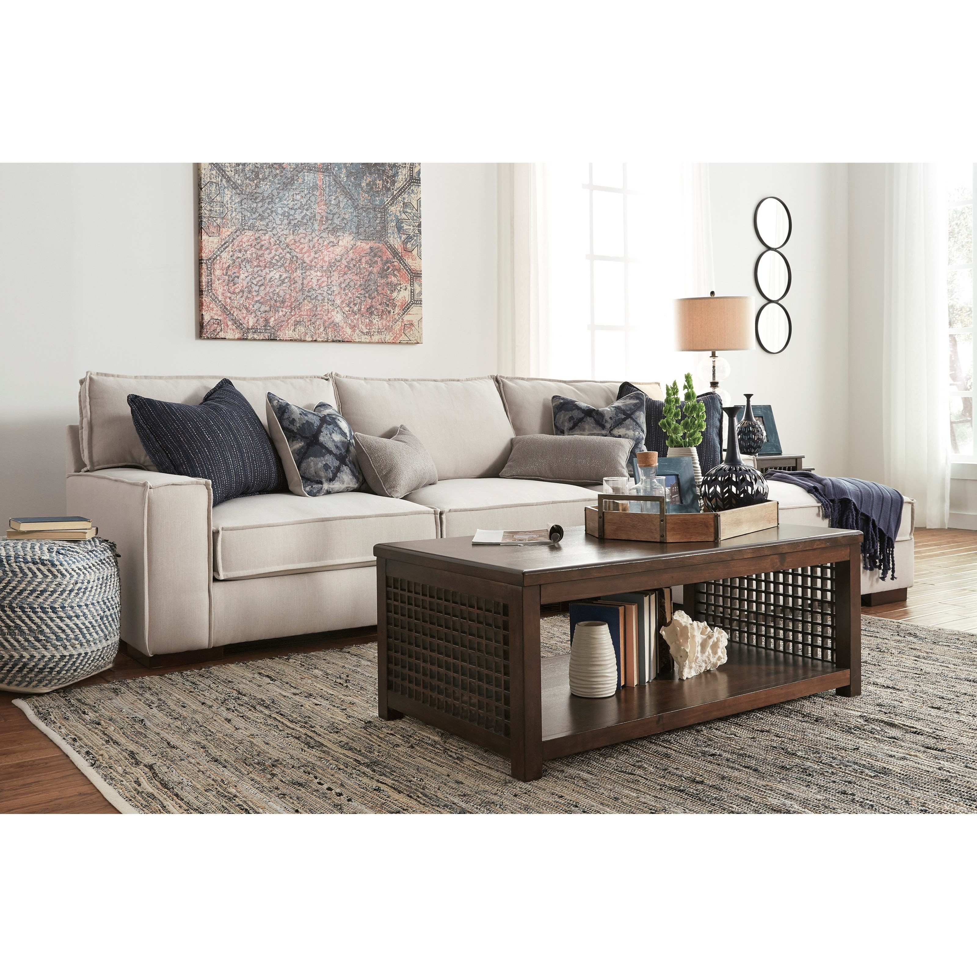Signature Design By Ashley Kendleton Modern 2 Piece Sectional With Right Chaise And Ultraplush