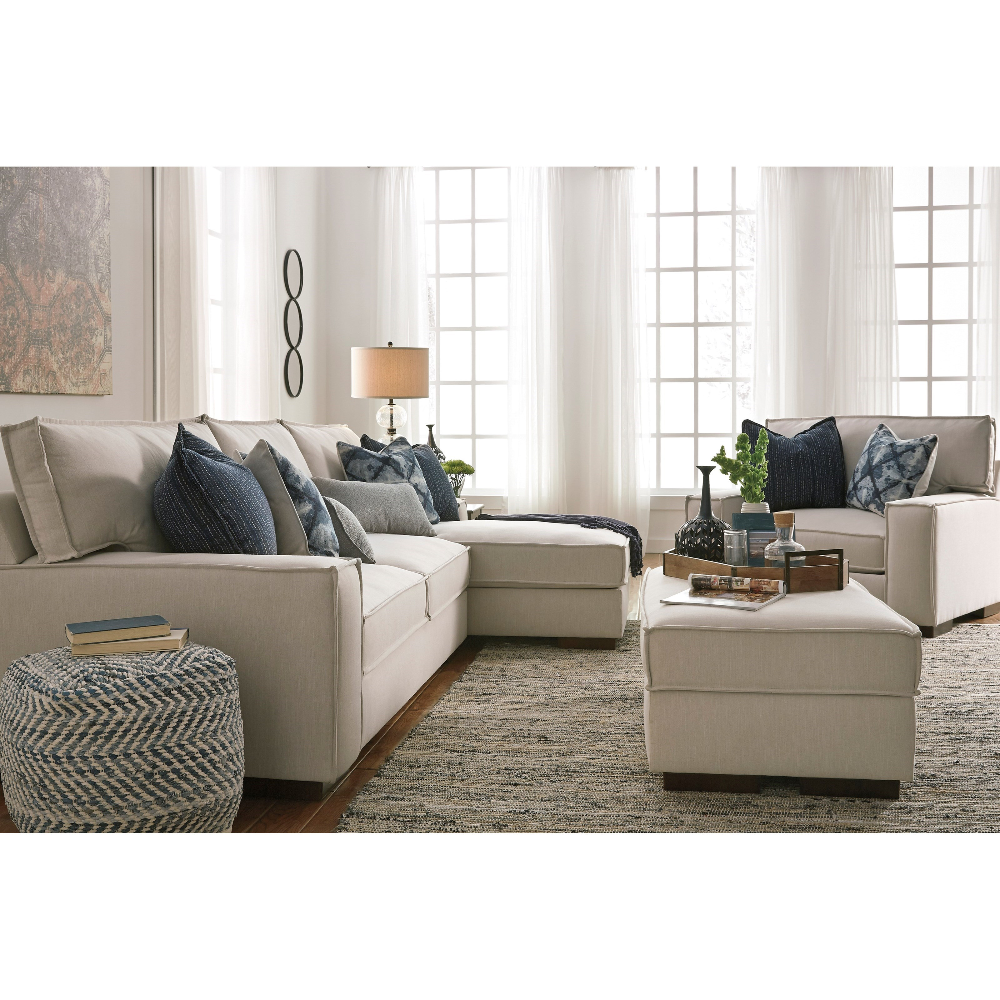 Benchcraft kendleton modern 2 piece sectional with right for Benchcraft chaise lounge