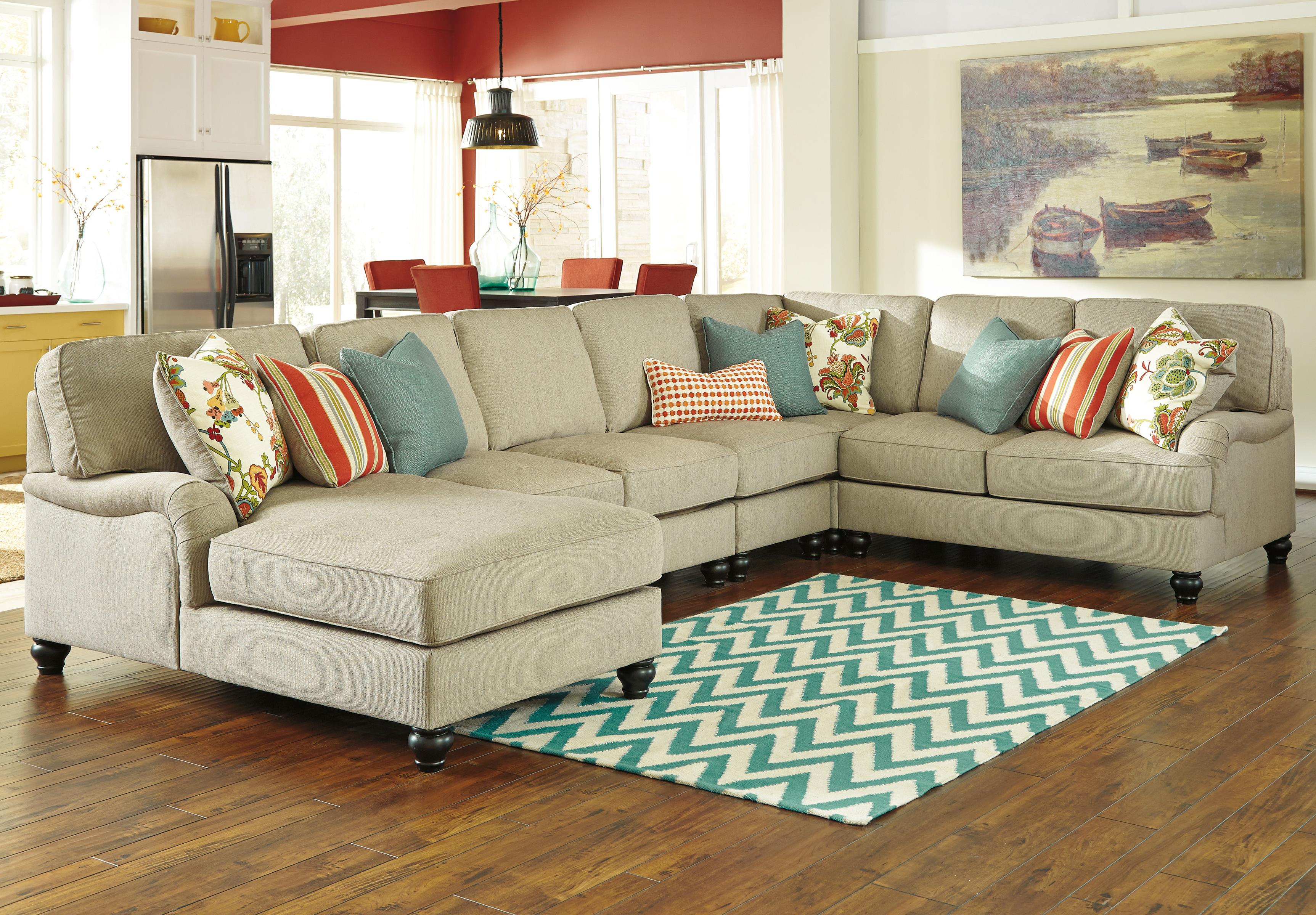 Ashley/Benchcraft Kerridon 5-Piece Sectional with Left Chaise - Item Number: 2630016+34+77+46+56