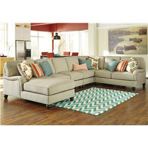 Ashley/Benchcraft Kerridon 5-Piece Sectional with Left Chaise
