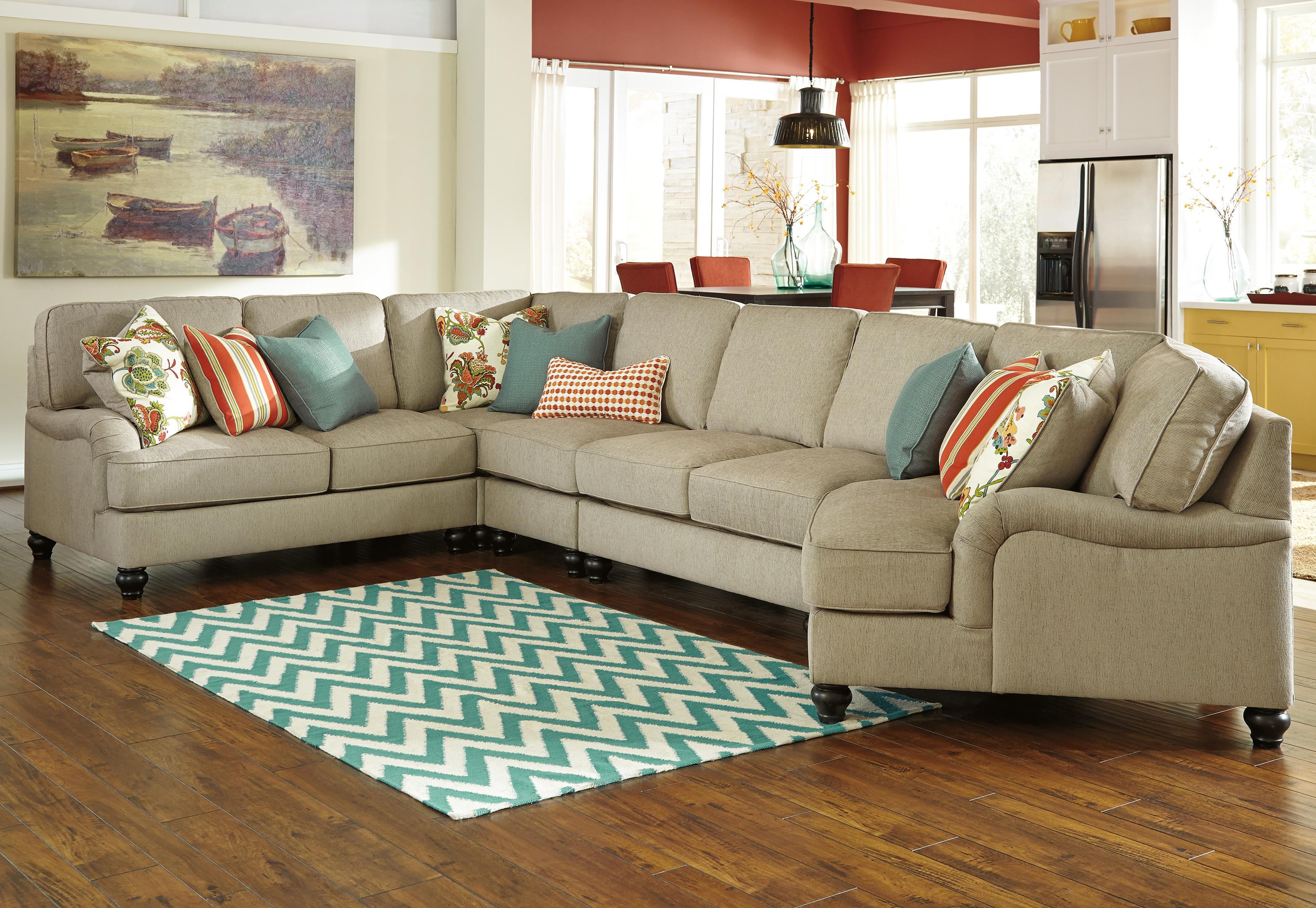 Benchcraft Kerridon 5-Piece Sectional with Right Cuddler - Item Number: 2630055+77+46+34+75