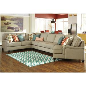 Benchcraft Kerridon 5-Piece Sectional with Right Cuddler