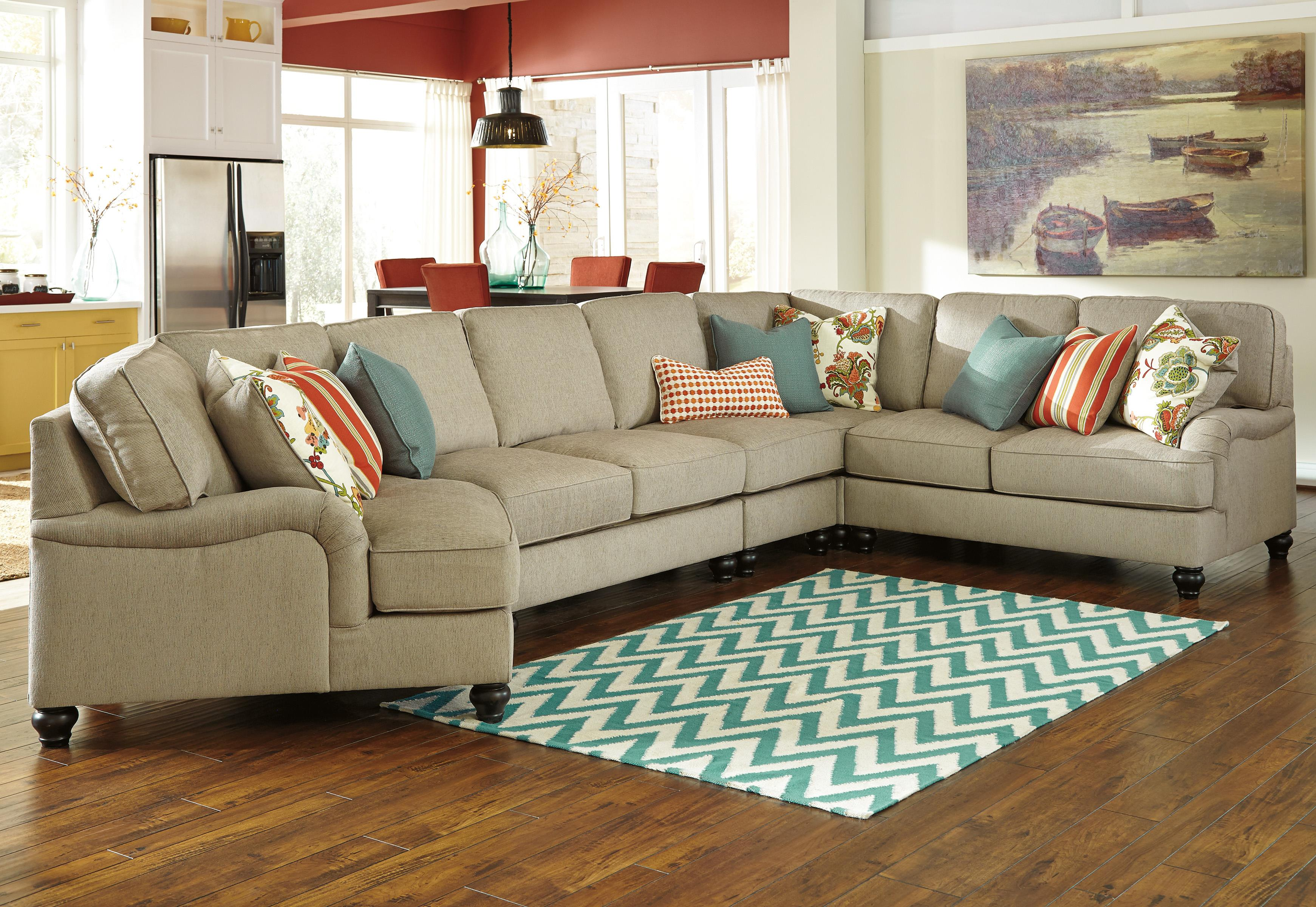 Benchcraft Kerridon 5-Piece Sectional with Left Cuddler - Item Number: 2630076+34+46+77+56