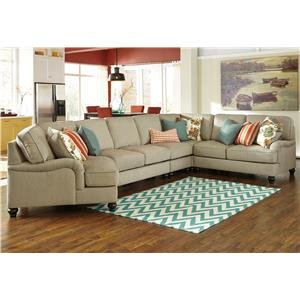 Benchcraft Kerridon 5-Piece Sectional with Left Cuddler