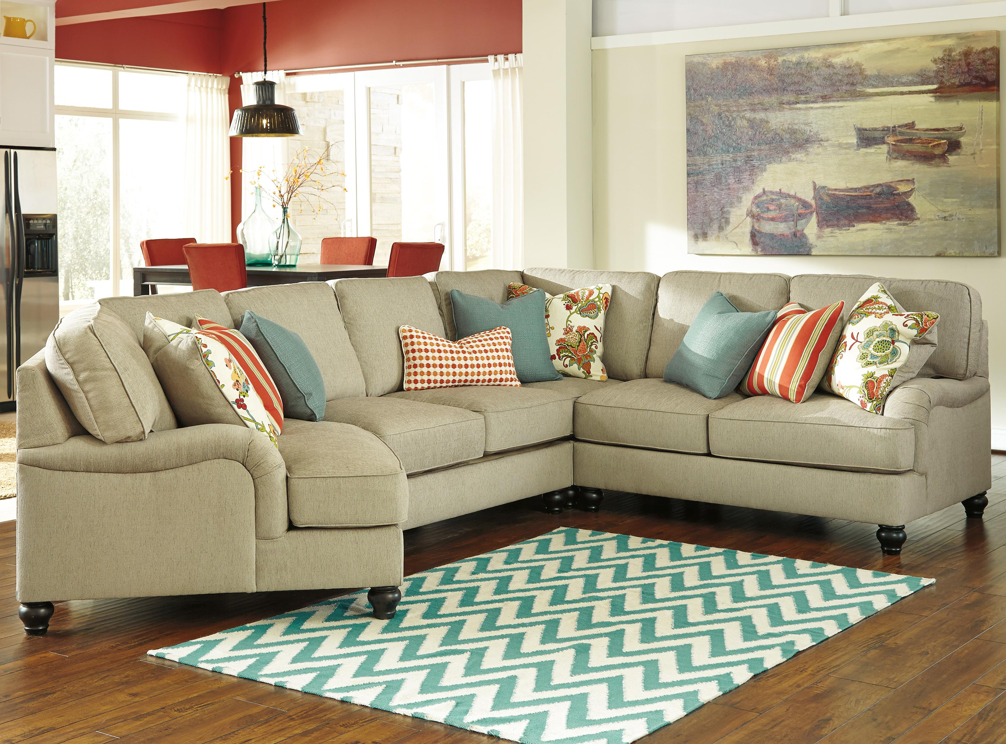 Ashley/Benchcraft Kerridon 4-Piece Sectional with Left Cuddler - Item Number: 2630076+34+77+56