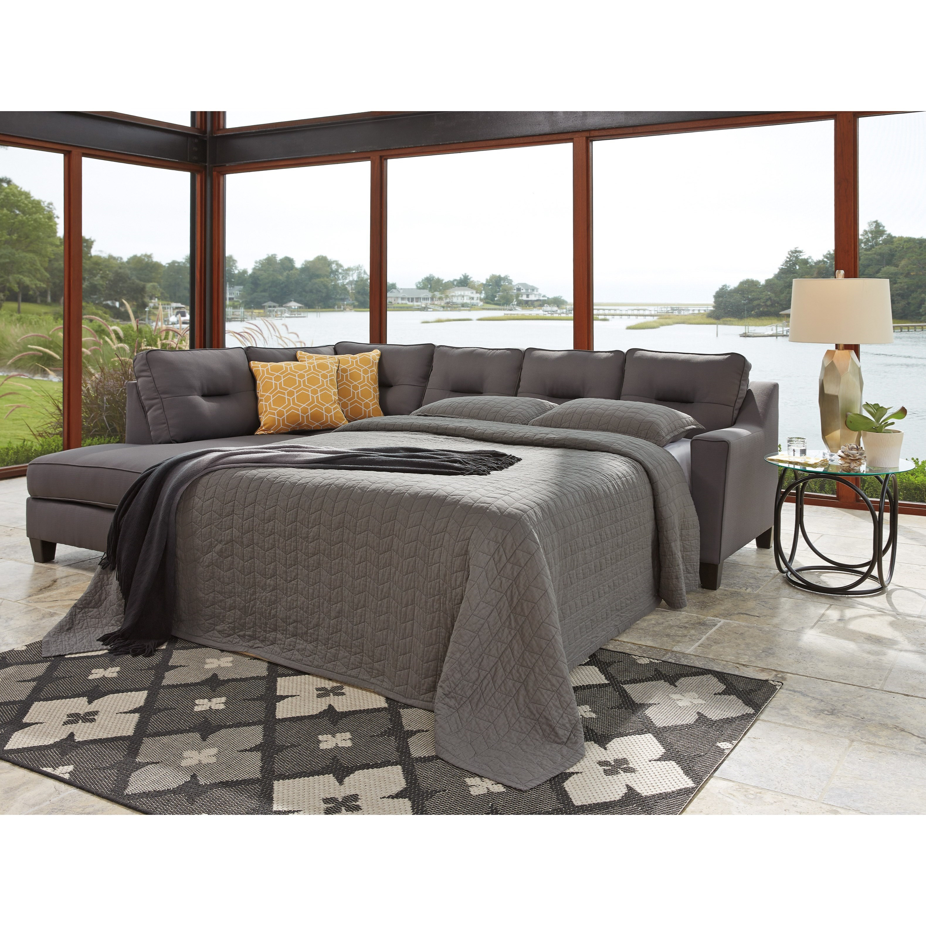 Benchcraft by ashley kirwin nuvella sectional with sleeper for Benchcraft chaise lounge