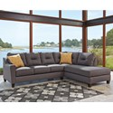 Benchcraft Kirwin Nuvella Sectional with Chaise - Item Number: 9960266+17