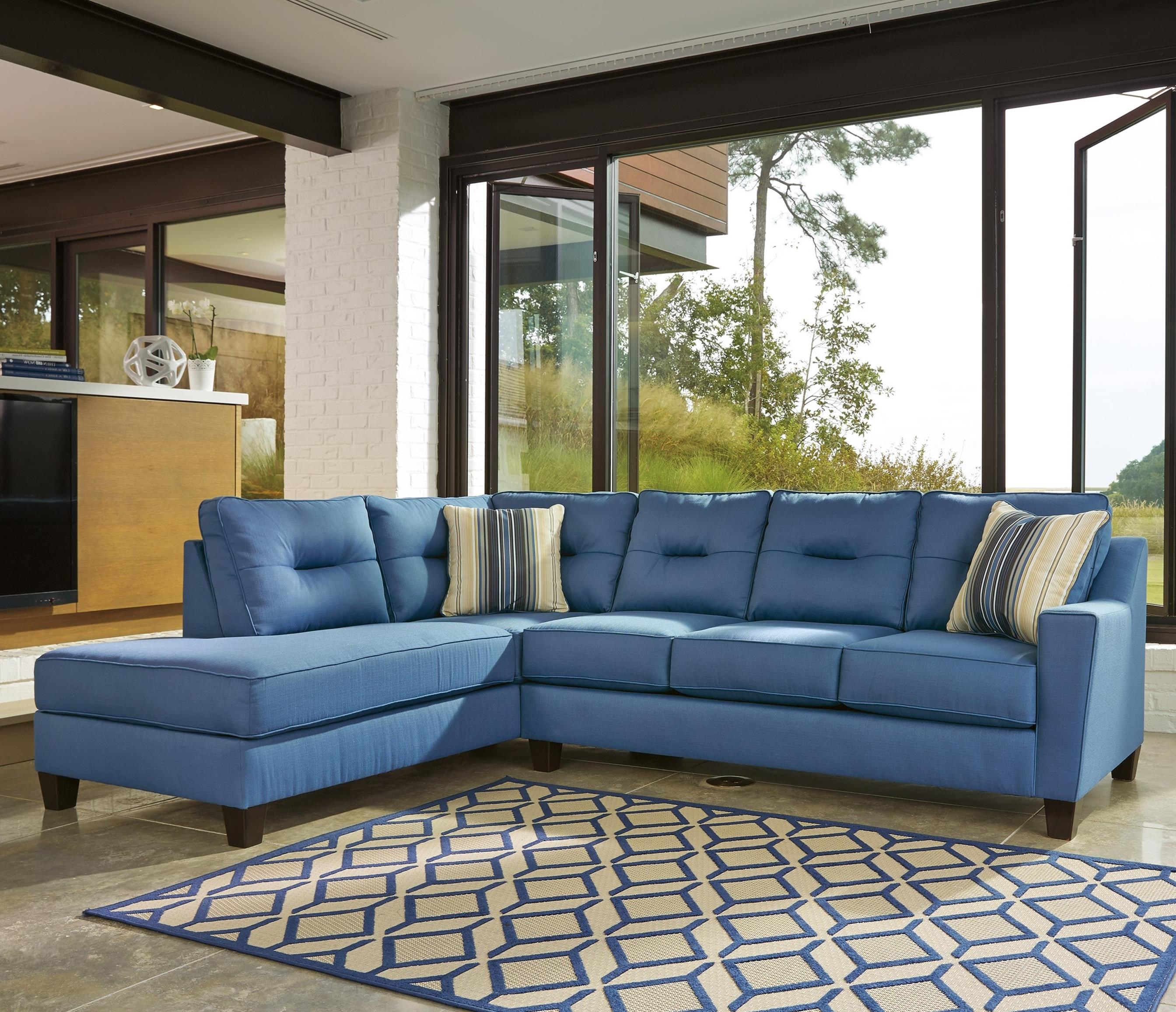 Benchcraft Kirwin Nuvella Sectional with Sleeper Sofa & Left