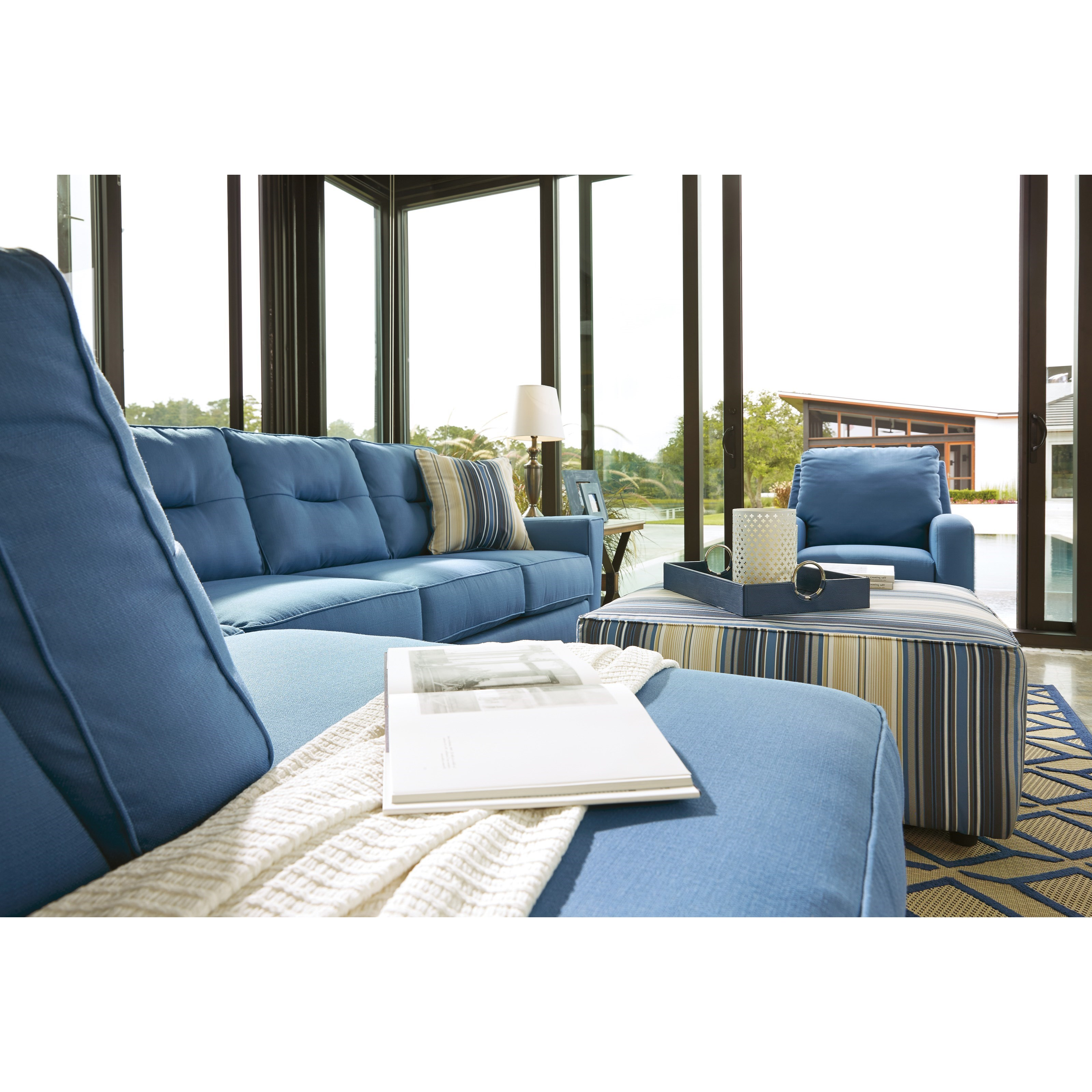 Benchcraft kirwin nuvella sectional with sleeper sofa for Benchcraft chaise lounge