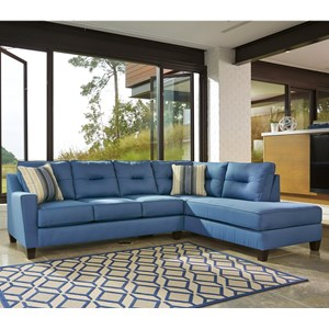 Benchcraft Kirwin Nuvella Sectional with Sleeper Sofa & Chaise