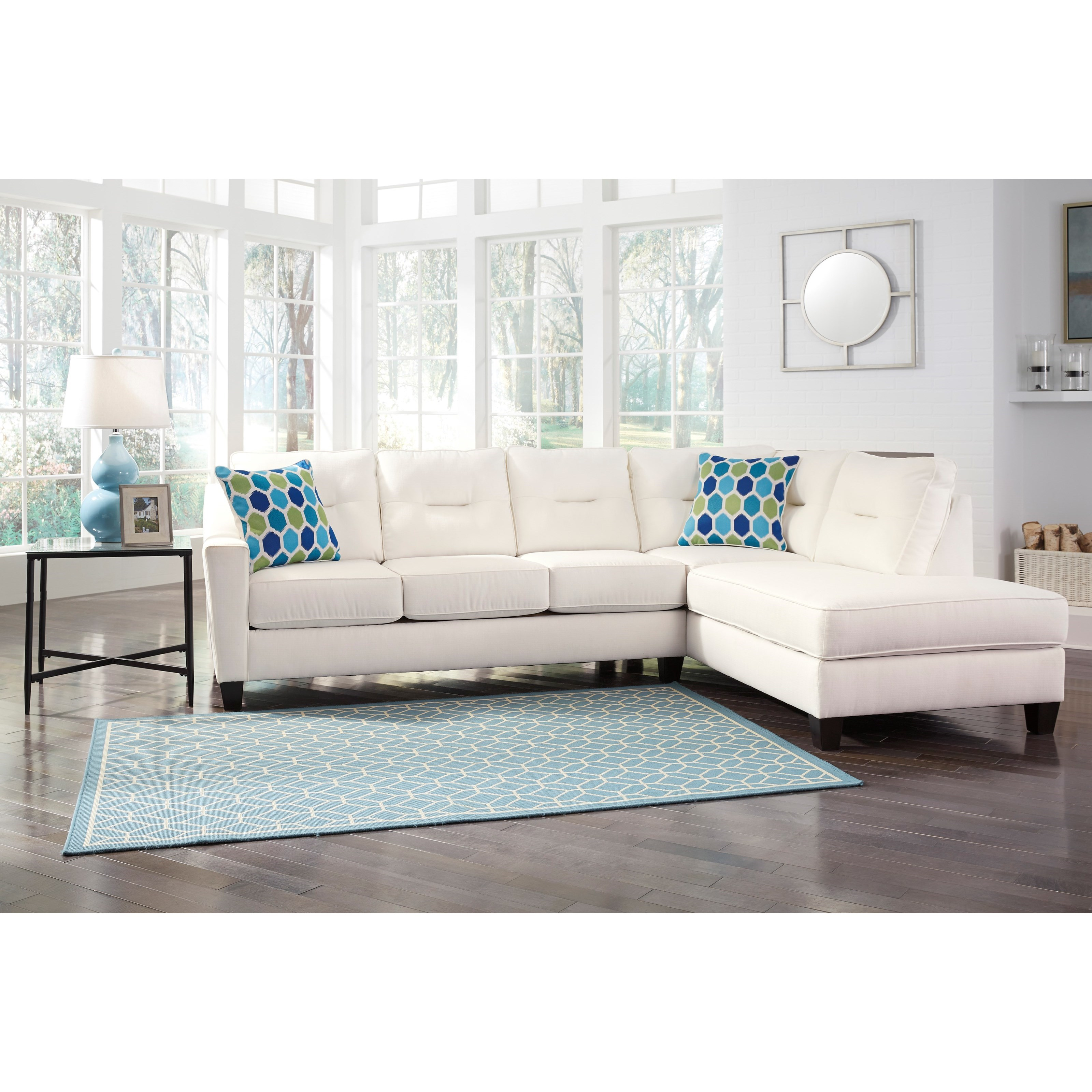 Benchcraft by ashley kirwin nuvella sectional with sleeper for Ashley sofa with chaise