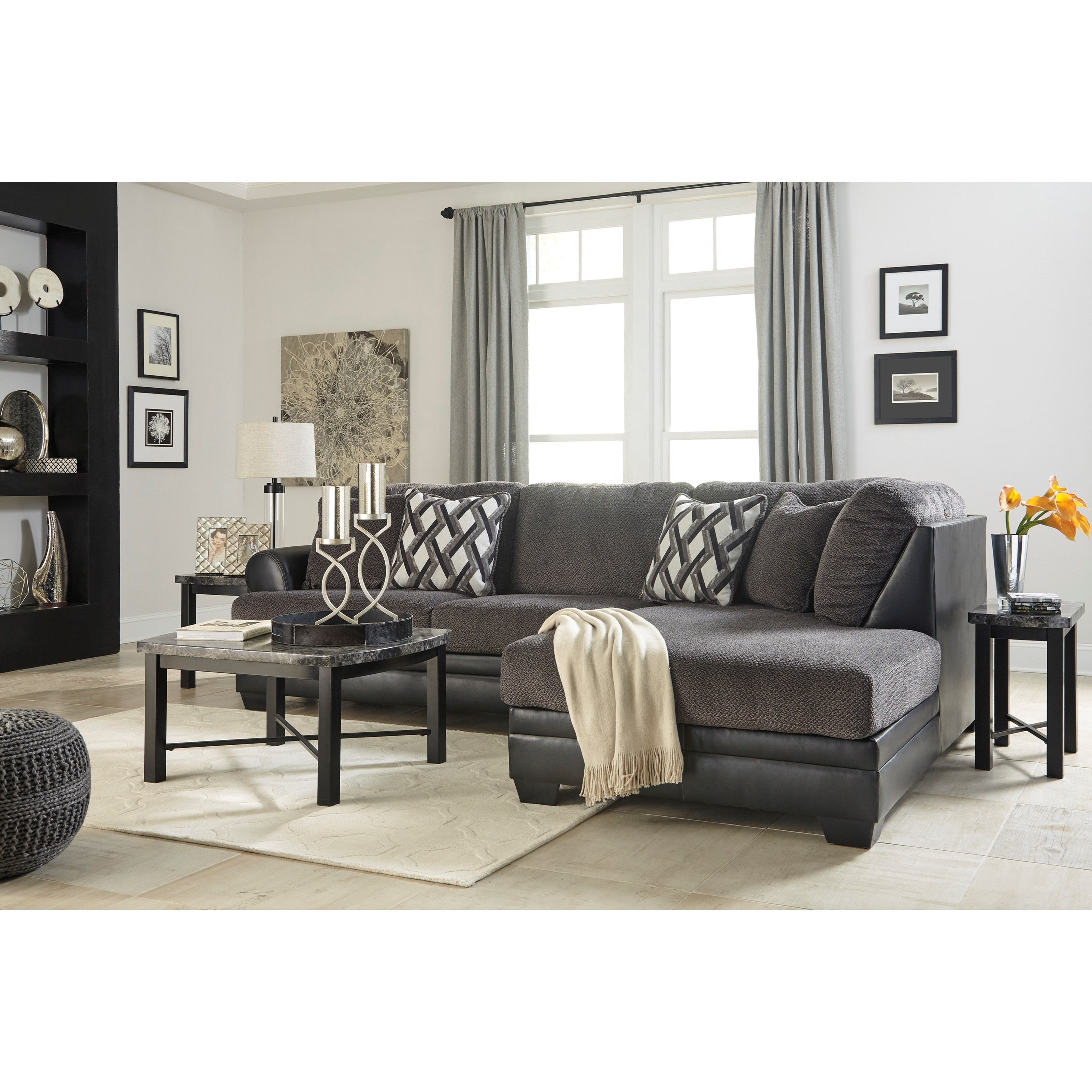 Benchcraft by ashley kumasi 2 piece fabric faux leather for Ashley leather sectional with chaise