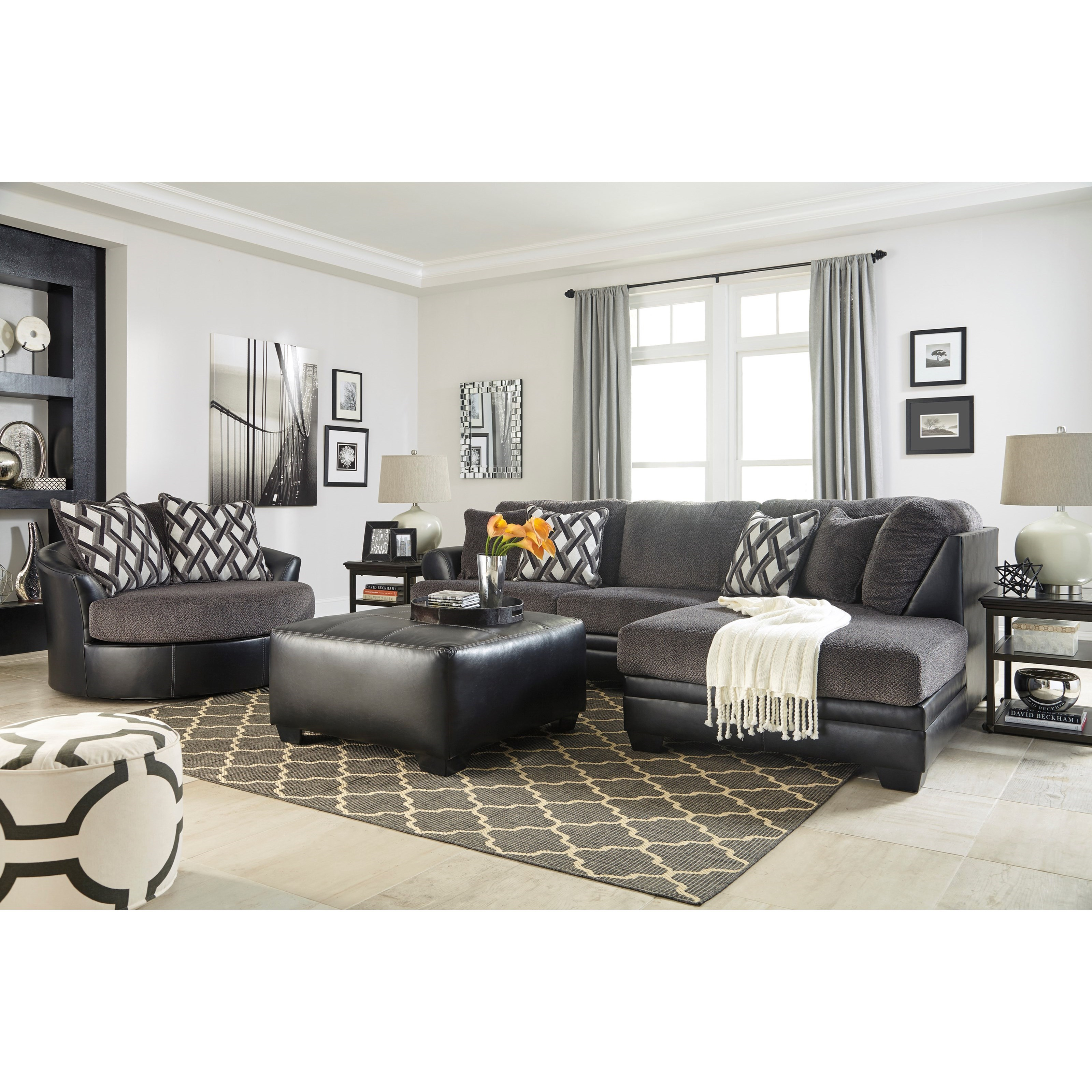 Benchcraft Kumasi 2 Piece Fabric Faux Leather Sectional
