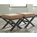 Benchcraft Leola Contemporary Set of 2 Accent Ottomans in Geometric Fabric