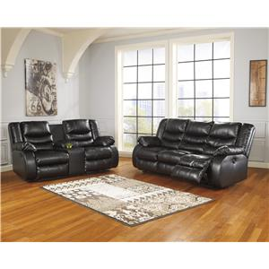 Ashley Linebacker DuraBlend - Black Reclining Living Room Group