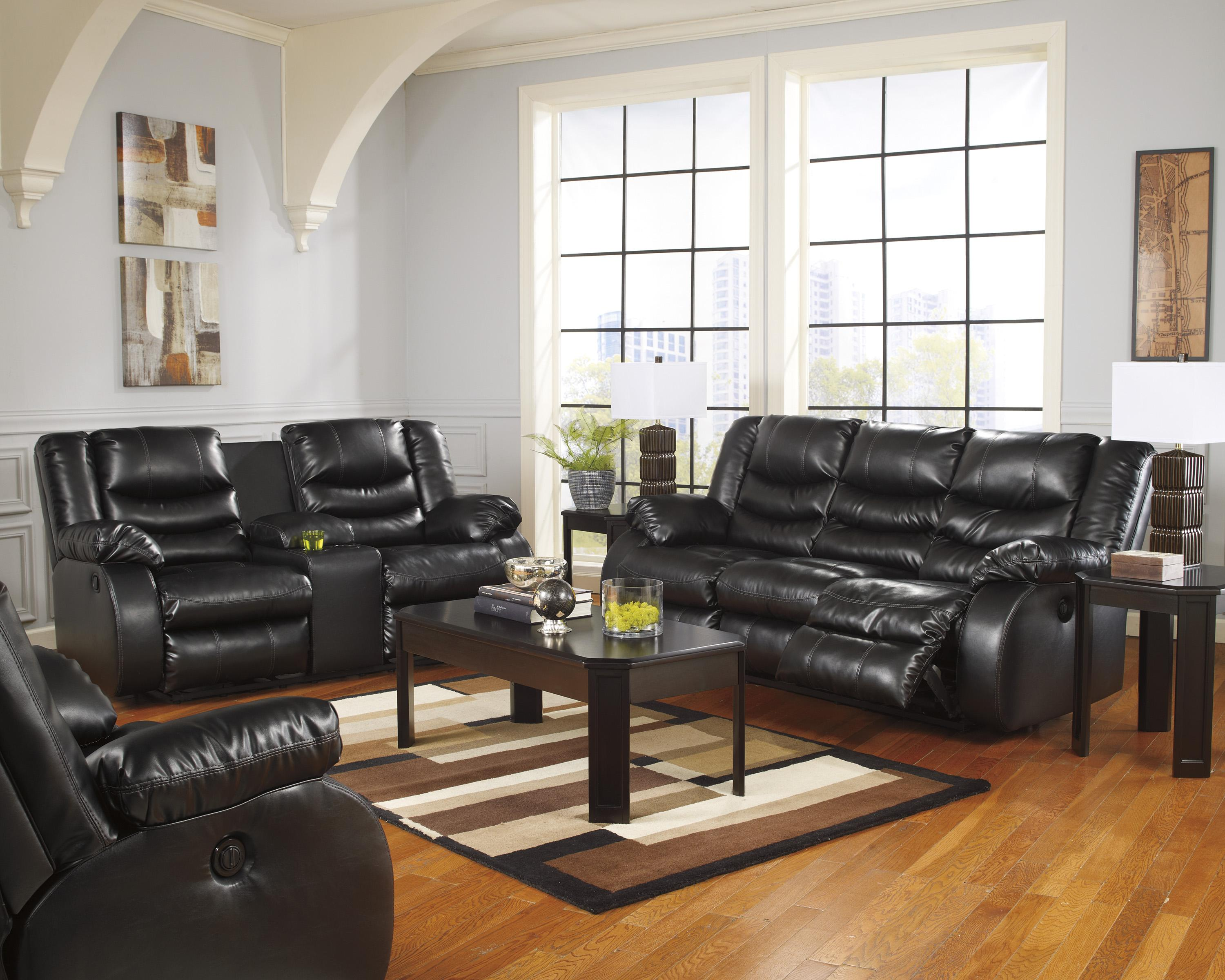 Ashley/Benchcraft Linebacker DuraBlend - Black Reclining Living Room Group - Item Number: 95202 Living Room Group 3
