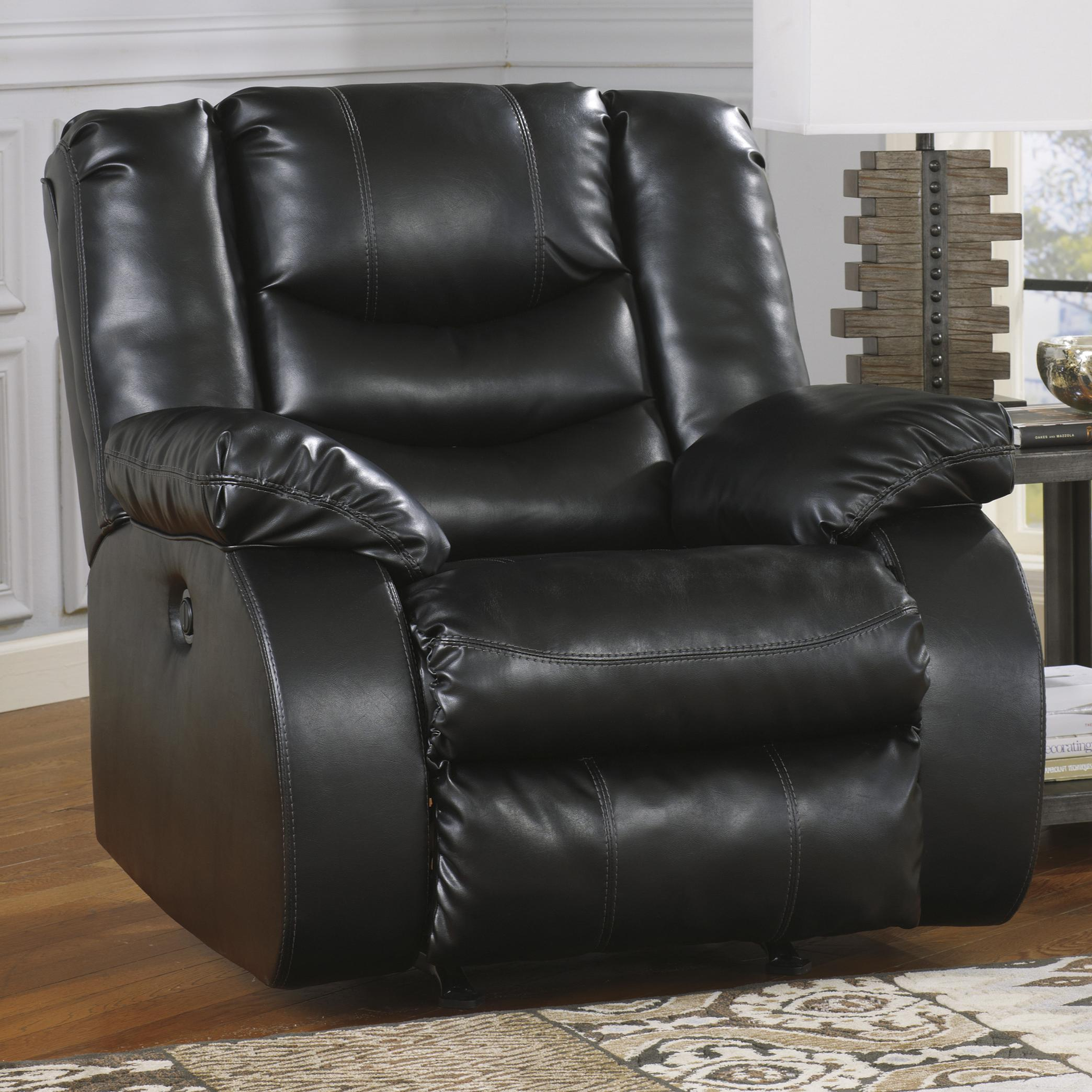 Ashley/Benchcraft Linebacker DuraBlend - Black Rocker Recliner - Item Number: 9520225