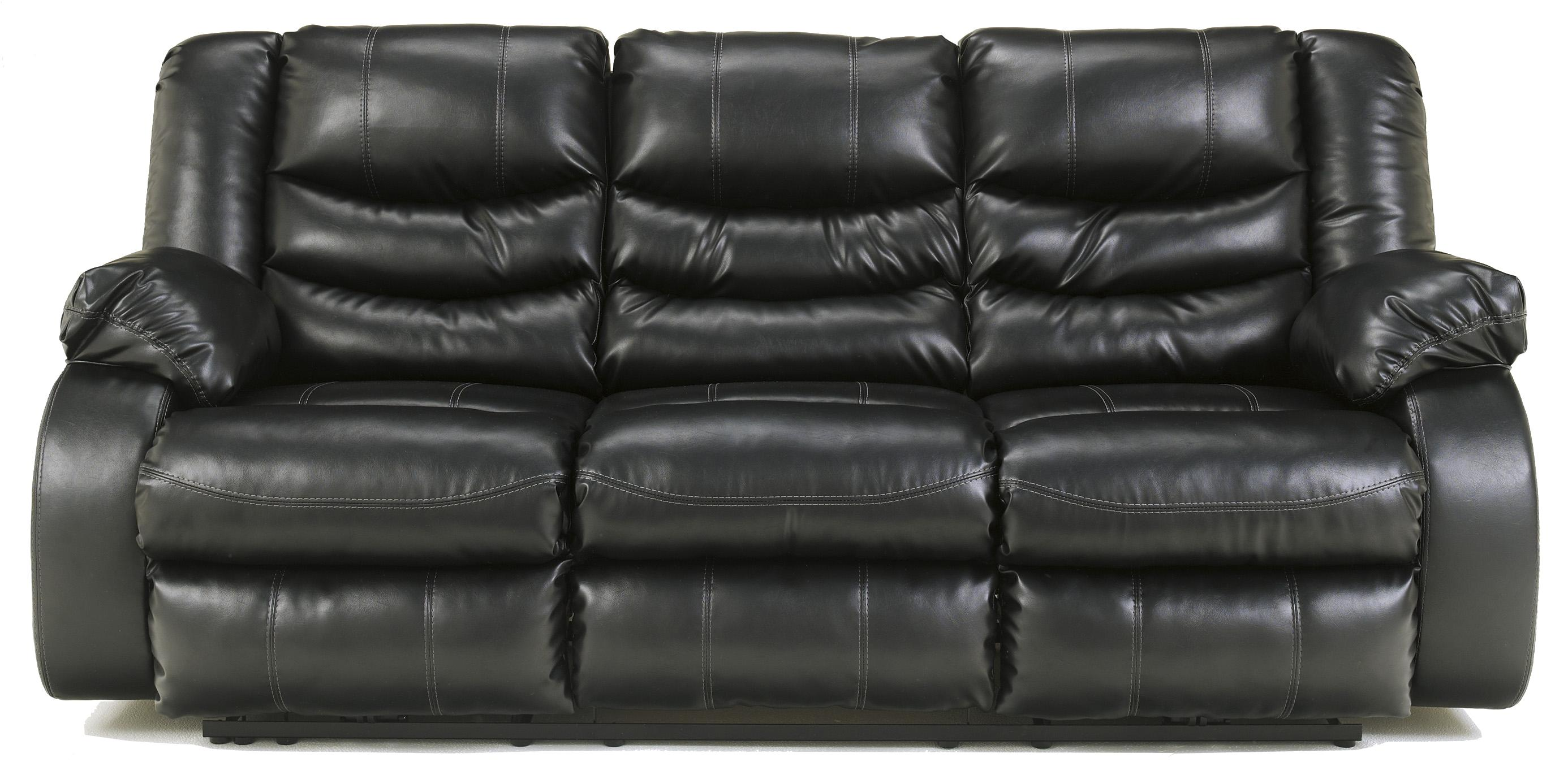 Benchcraft Linebacker DuraBlend - Black Reclining Sofa - Item Number: 9520288