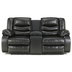 Ashley Linebacker DuraBlend - Black DBL Rec Loveseat w/Console