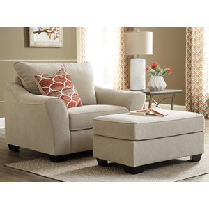 Benchcraft Lisle Nuvella Chair and a Half & Ottoman