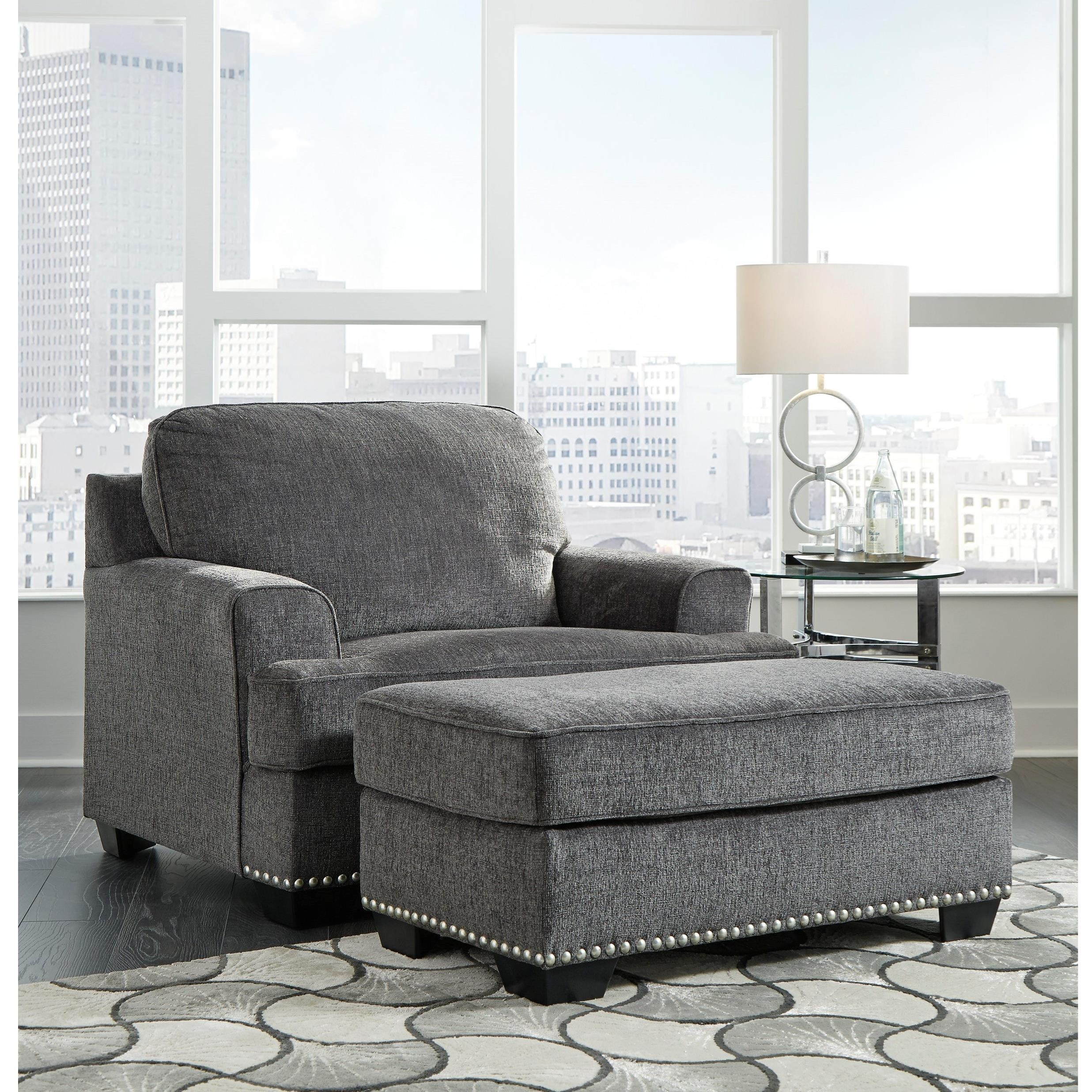Benchcraft Locklin Transitional Chair And A Half With Ottoman