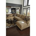 Benchcraft Lonsdale Contemporary 4-Piece Sectional w/ Armless Sofa & Right Chaise