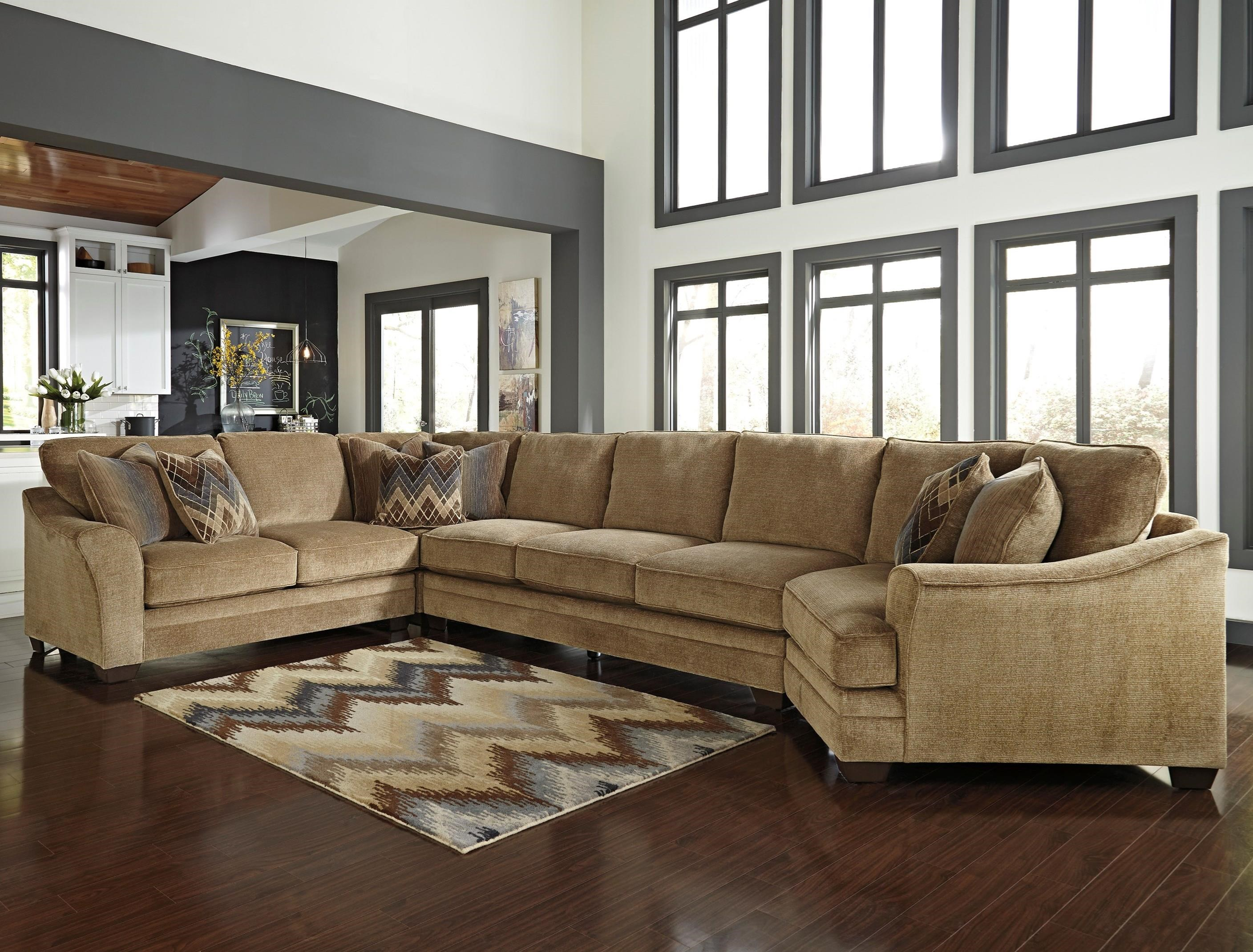 Benchcraft Lonsdale 4-Piece Sectional w/ Armless Sofa & Cuddler - Item Number: 9211155+77+99+75